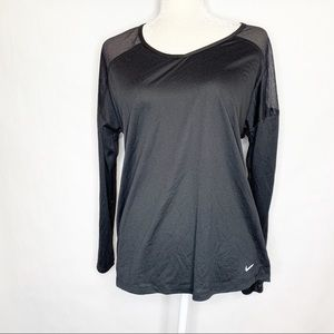 Nike   Black Long Sleeve Top With Mesh Patches